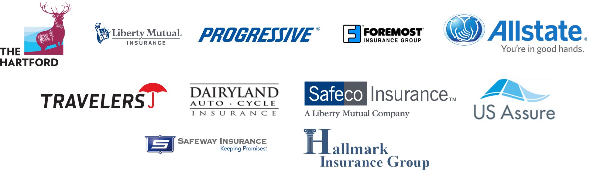Logos for Allstate Independent Agent, Liberty Mutual, US Assure, The Hartford, Progressive, Foremost Insurance Group, Travelers, Dairyland, Safeco Insurance