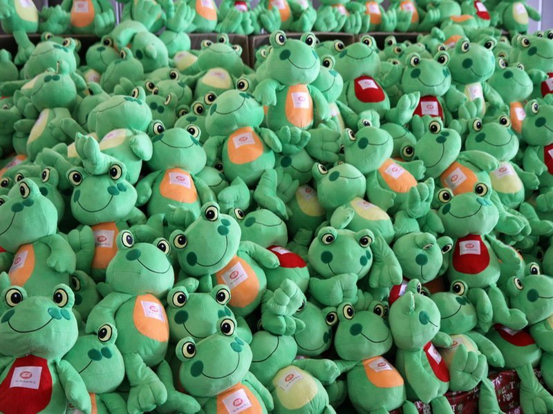 Green colored stuffed toys