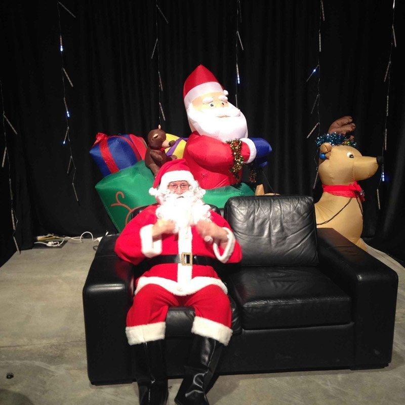 Santa sitting on sofa