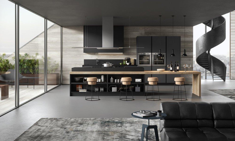 Cucina minimal moderna con penisola