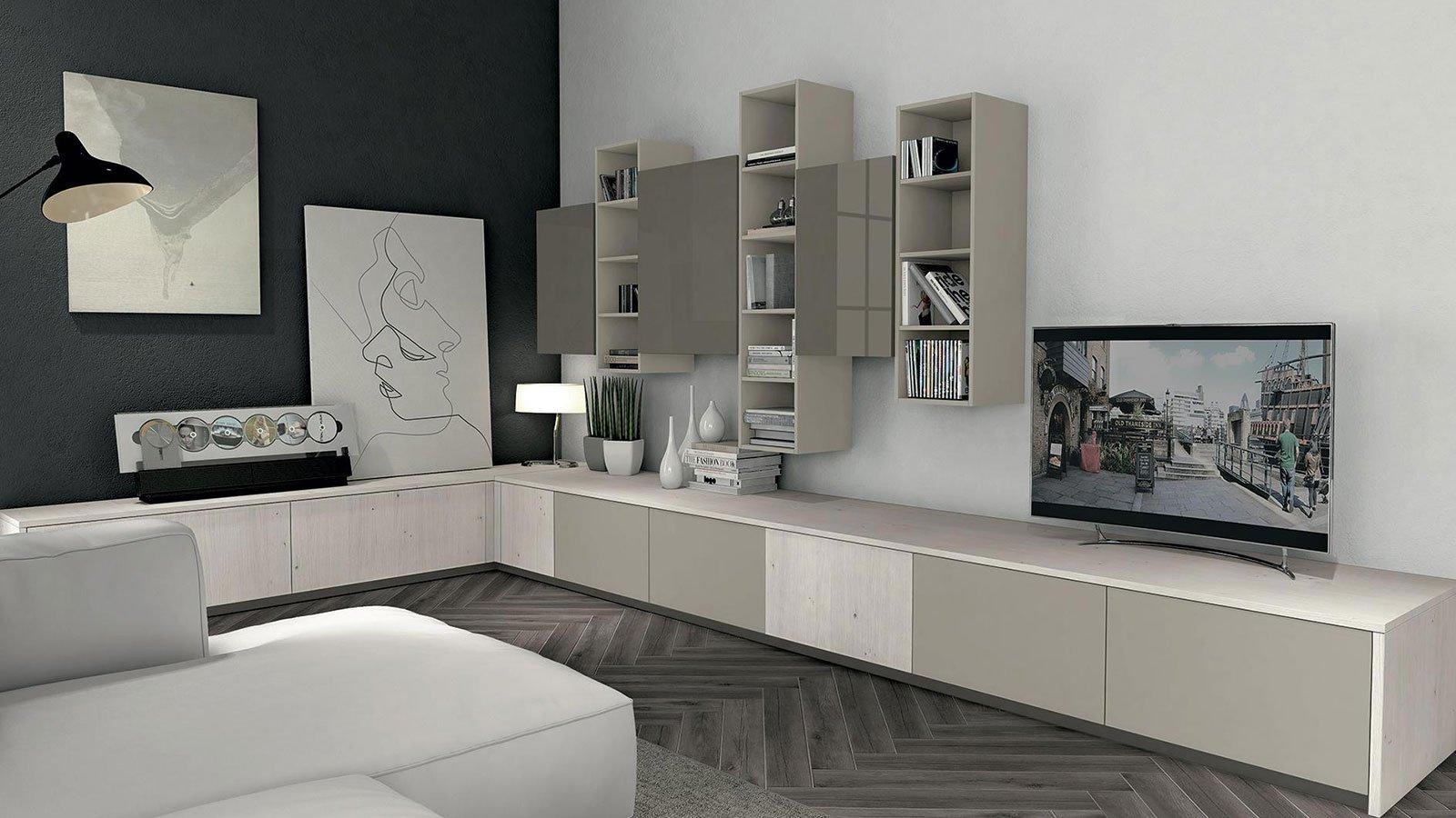 Soggiorno con TV da libreria articoli decorativi dipinti e divano