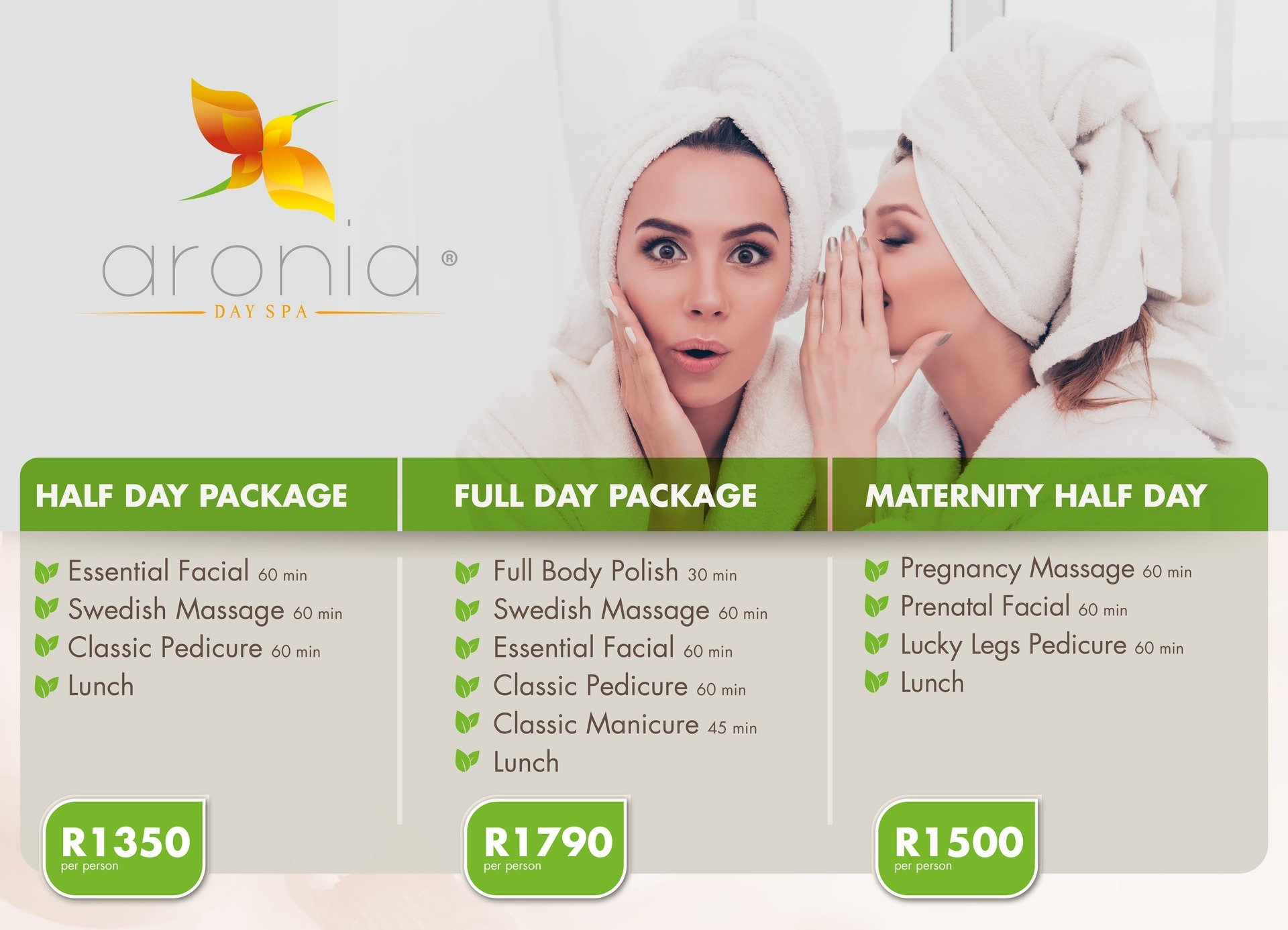Aronia Spa Packages - Full Day, Half Day Couples and Pregnancy