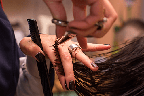 Hair being cut by professional