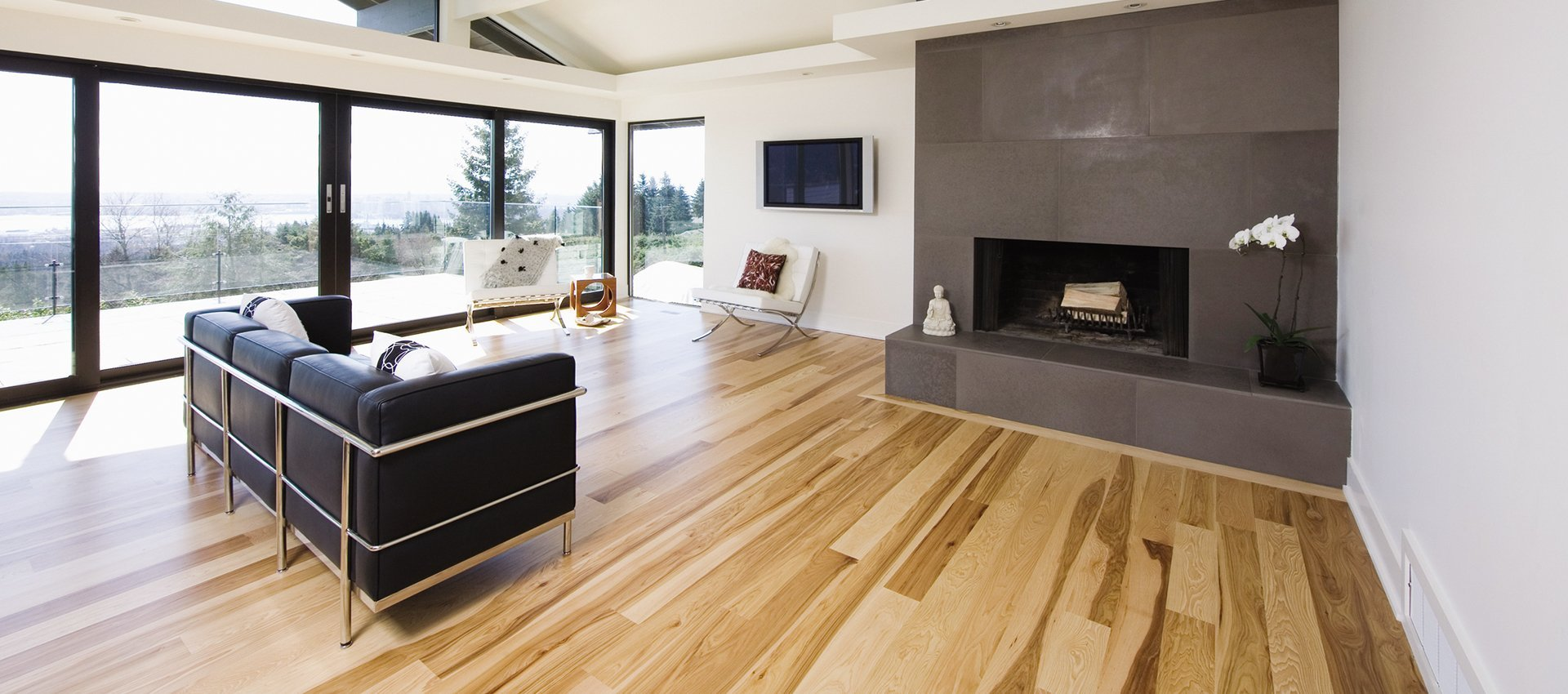 wooden flooring in living room
