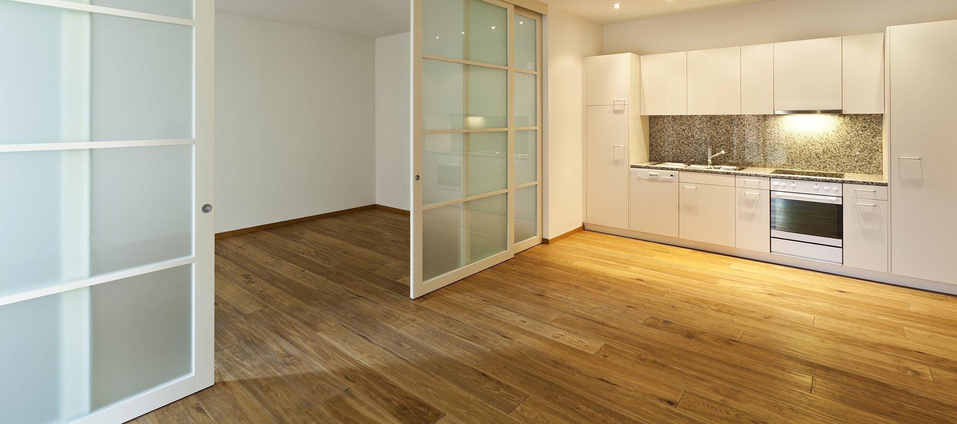 wooden flooring in kitchen