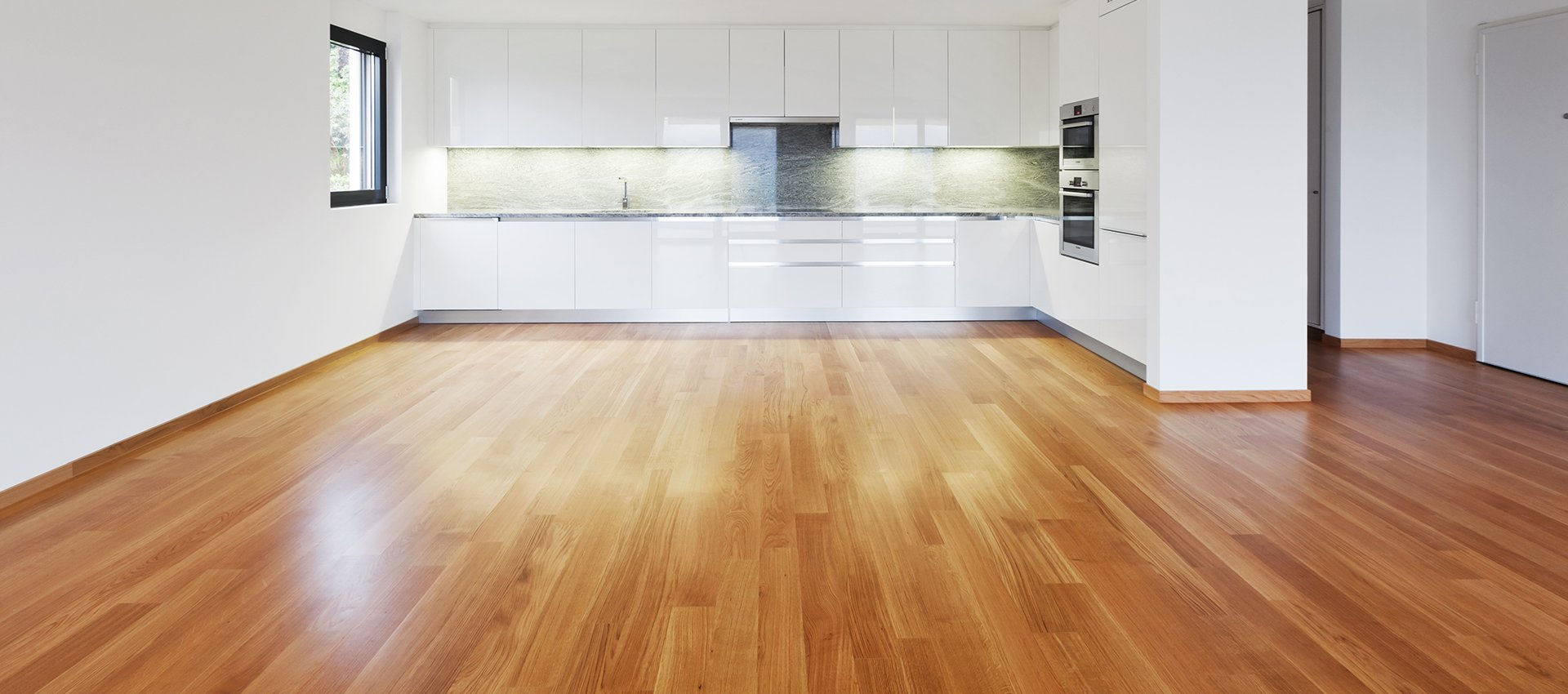 wooden flooring and skirting in kitchen