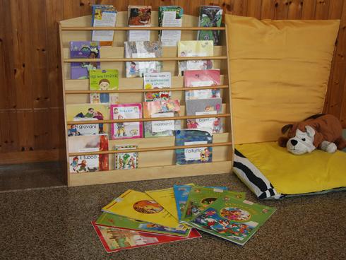 angolo lettura nella scuole dell'infanzia