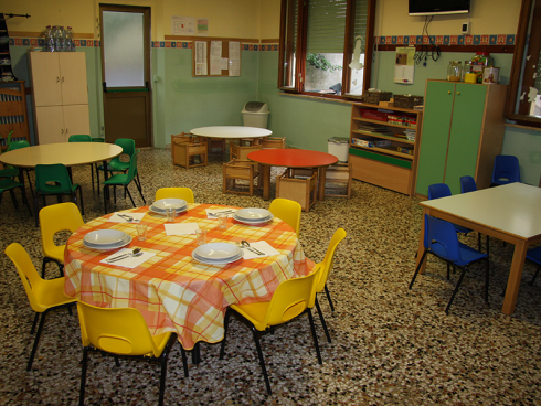 aula pranzo della scuola d'infanzia