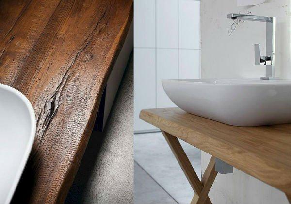 Lavandino su tavola di legno