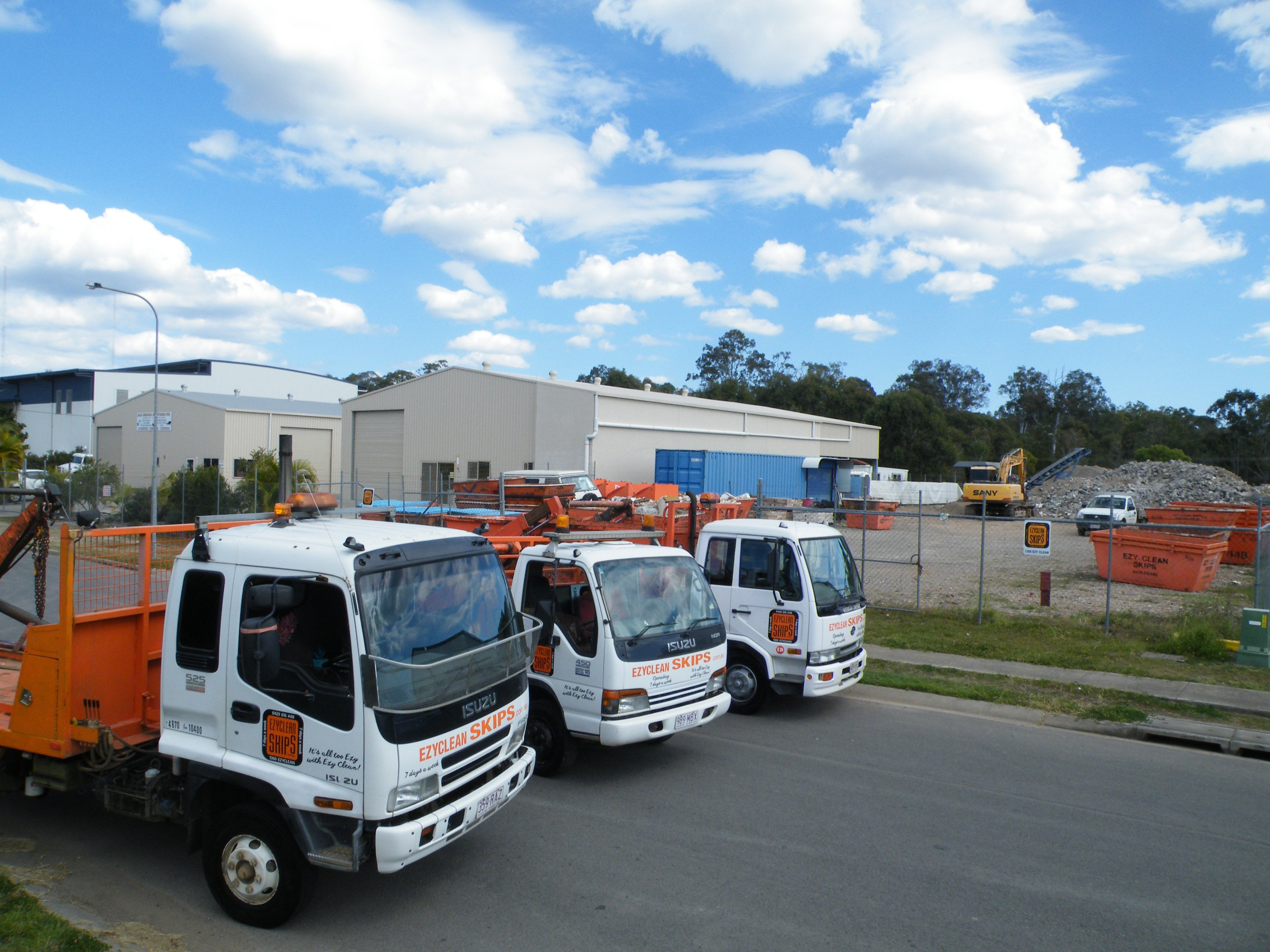 three trucks ready to bring you a skip