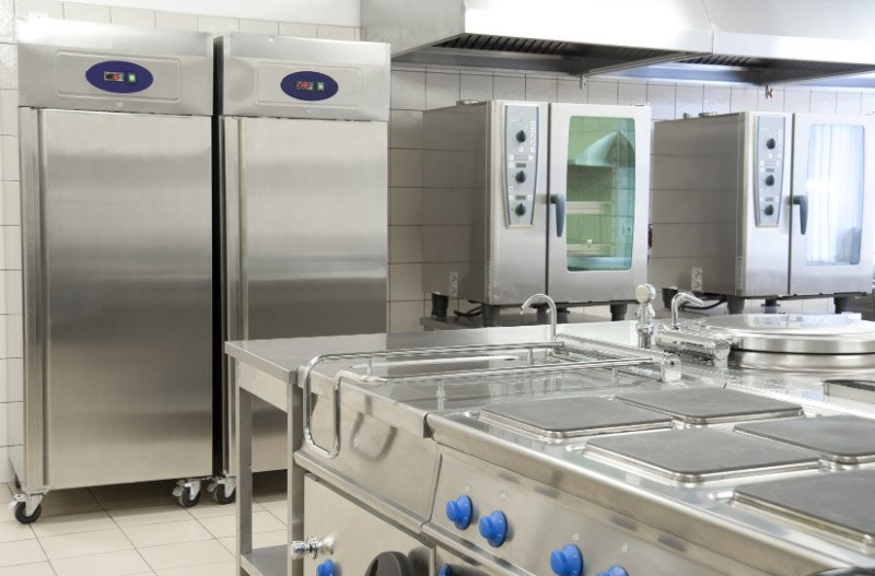 Empty restaurant kitchen with professional equipment