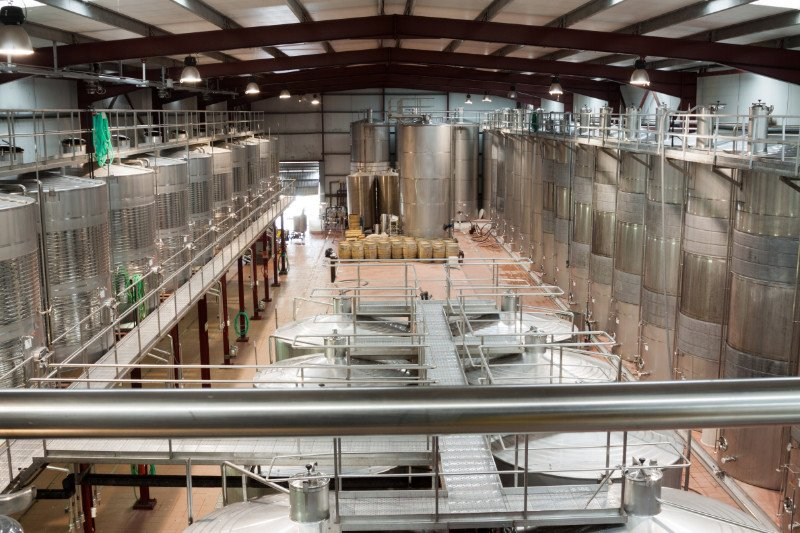 Interior of Plant facilities with wine cisterns under temperature control