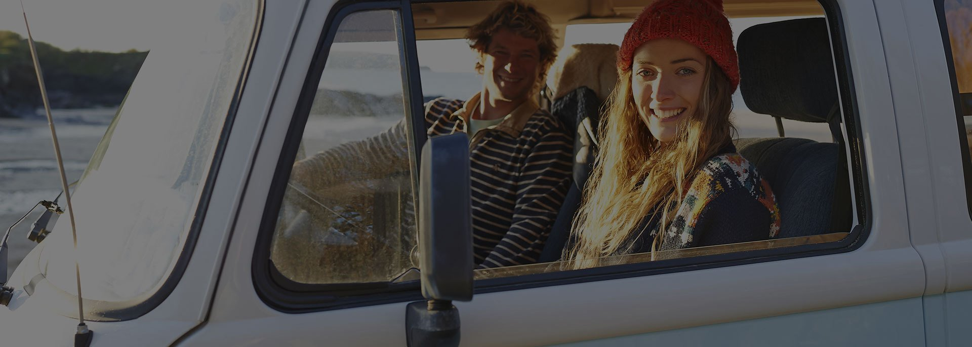 a couple travelling in a van