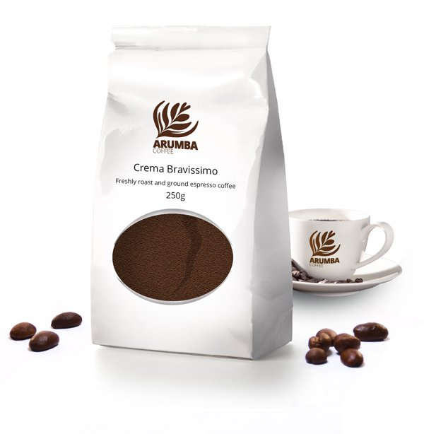 <span>Crema Bravissimo</span>Freshly roast and ground filter/cafetiere coffee