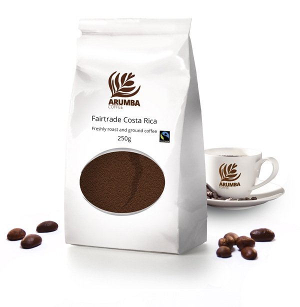 <span>Fairtrade Costa Rica</span>Rich in body, a fine mild flavour. Caramel, toffee and nutty notes.