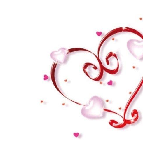 immagine di un cuore rosso disegnato e dei piccoli cuoricini rosa