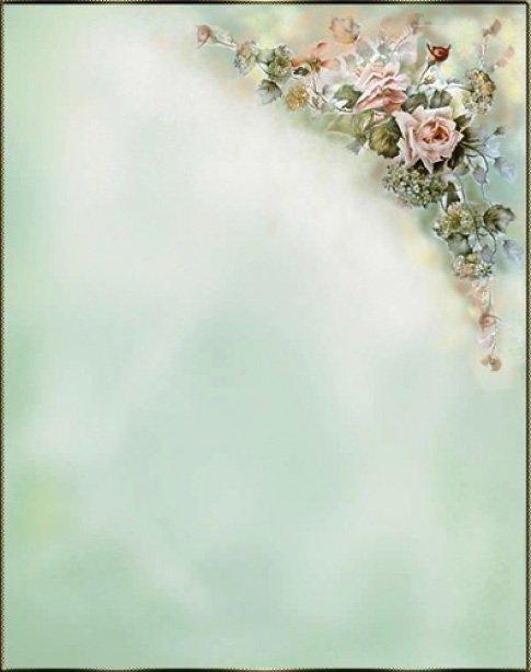uno sfondo azzurro e in alto sulla destra una composizione di fiori