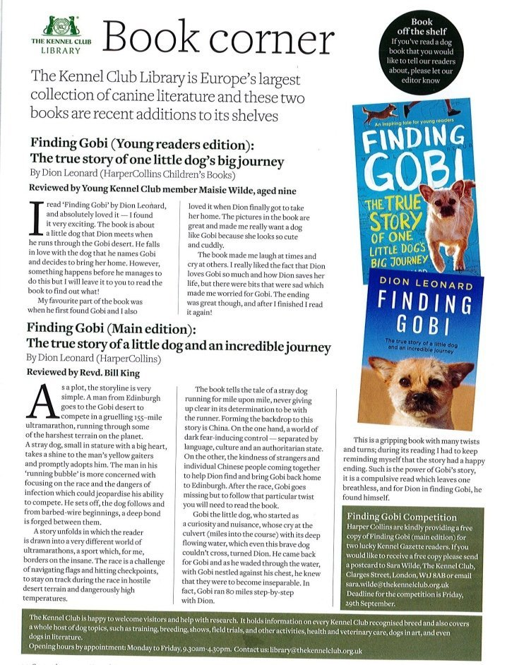 Kennel Club Library, Finding Gobi, Dion Leonard