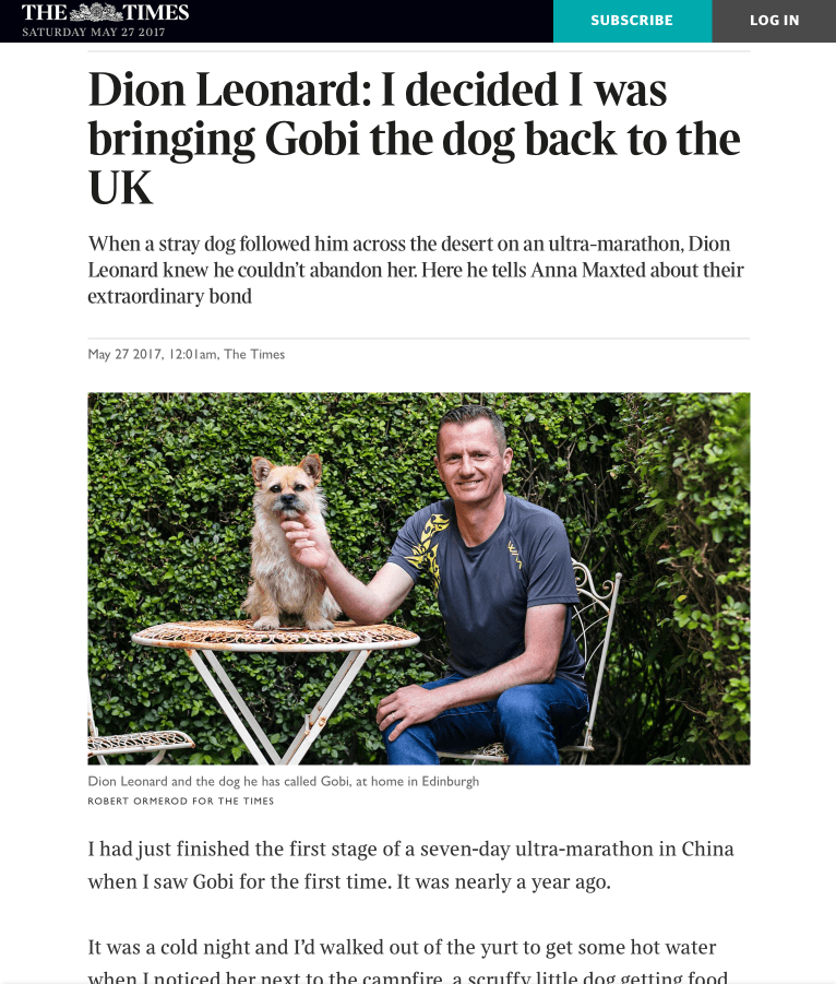 The Times, Dion Leonard, Gobi the Dog, Gobi Desert, Ultra Marathon race