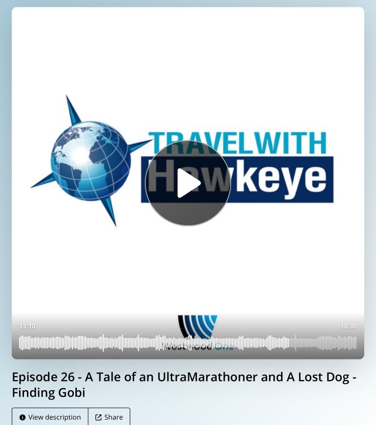Travel with Hawkeye, Dion Leonard, Finding Gobi, Ultra Marathon Runner