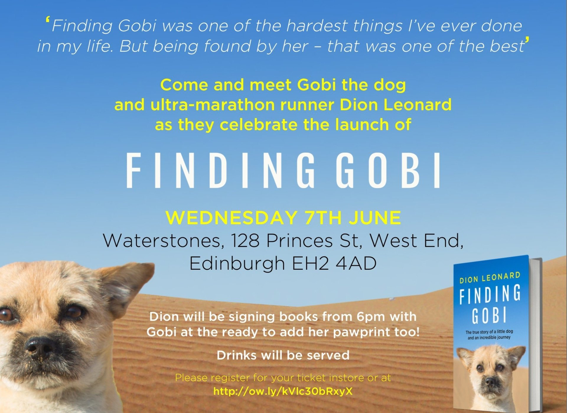 Finding Gobi Launch Event. Meet Dion Leonard and Gobi the Dog in Edinburgh