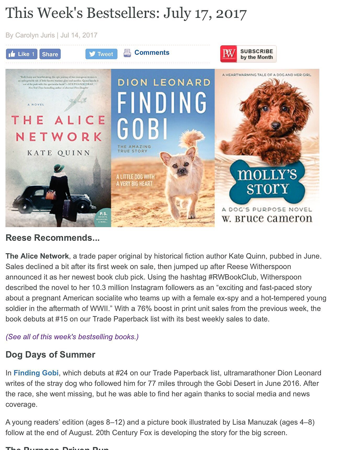 U.S Bestsellers List, Publishers Weekly Bestsellers List, Finding Gobi, Finding Gobi book Dion Leonard, International Bestseller, Gobi Book