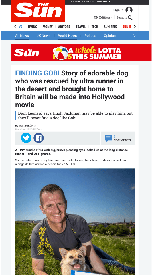 The Sun, Finding Gobi, Dion Leonard, Gobi the Dog, Chinese Desert, Ultra Marathon, China