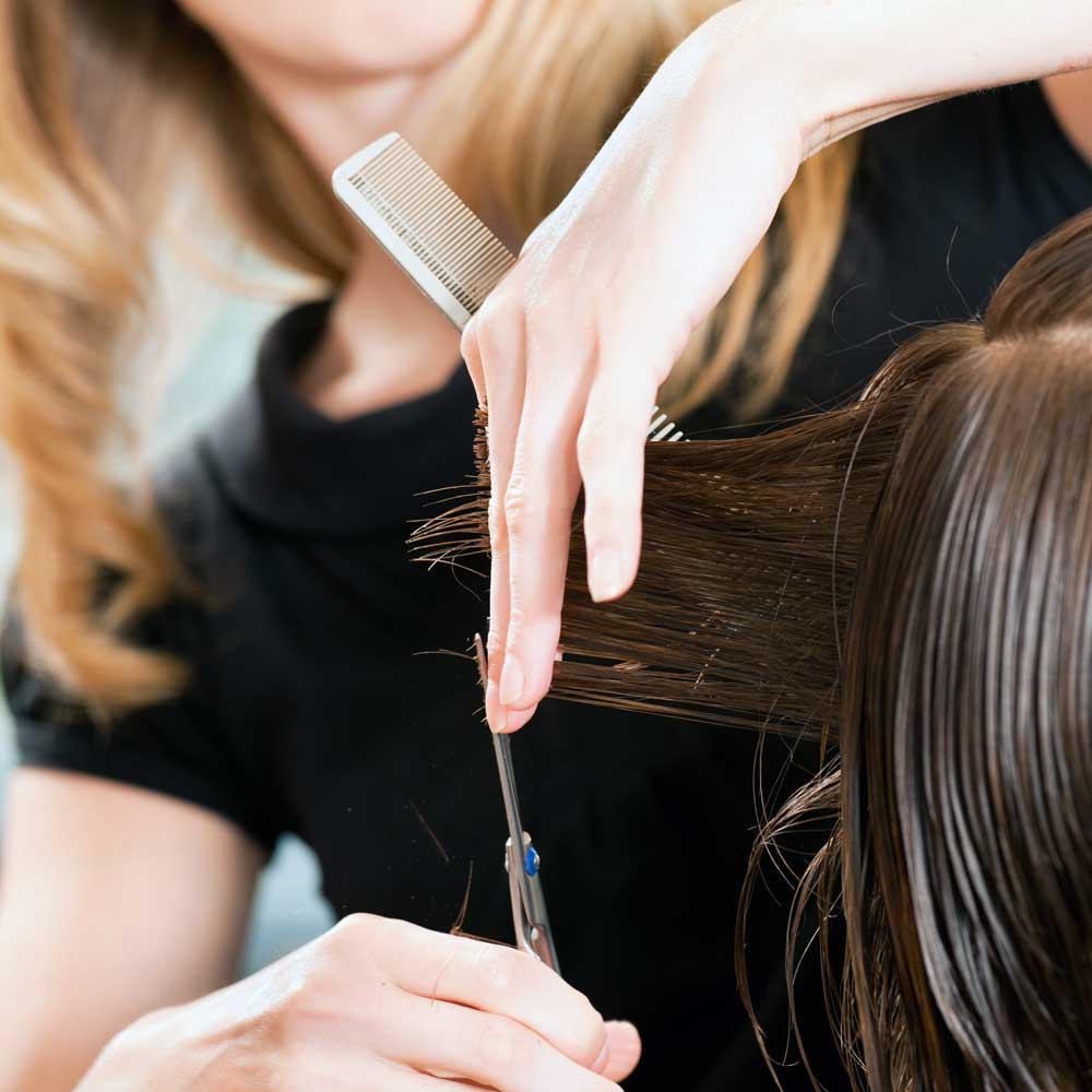 A woman receives a hair trimming