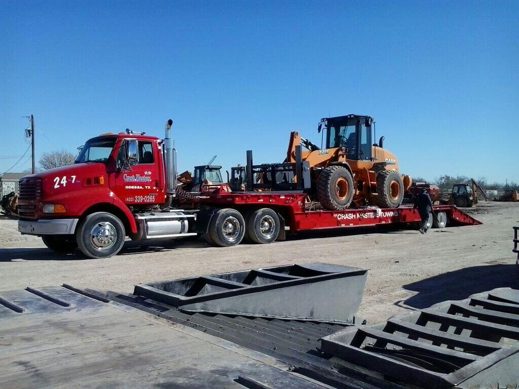 Towing a bulldozer in Midland, TX
