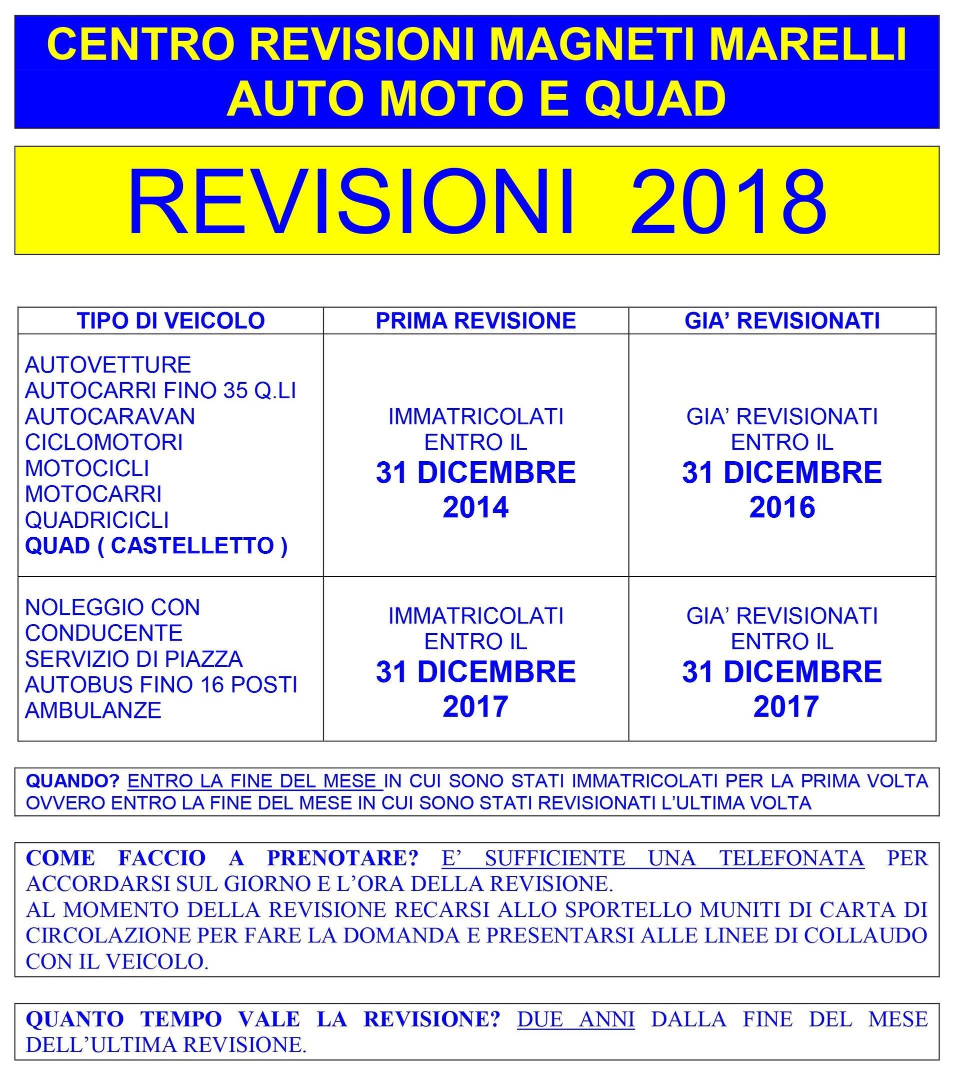 calendario revisione auto moto 2017
