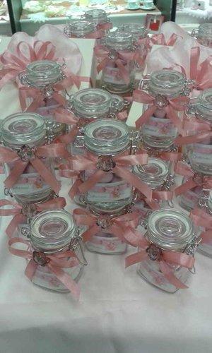 sacchettini in vetro con rosa di stoffa