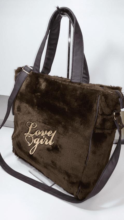 Shopping in pelliccia sintetica con tracolla Love Girl