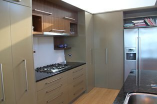 View of a storage cabinets built for kitchen