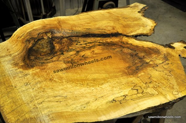 Live edge thick coffee table slab.