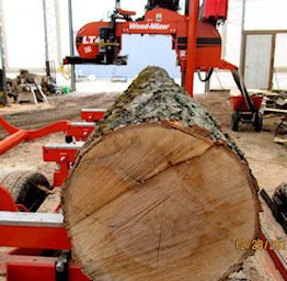 Portable sawmill service in action.