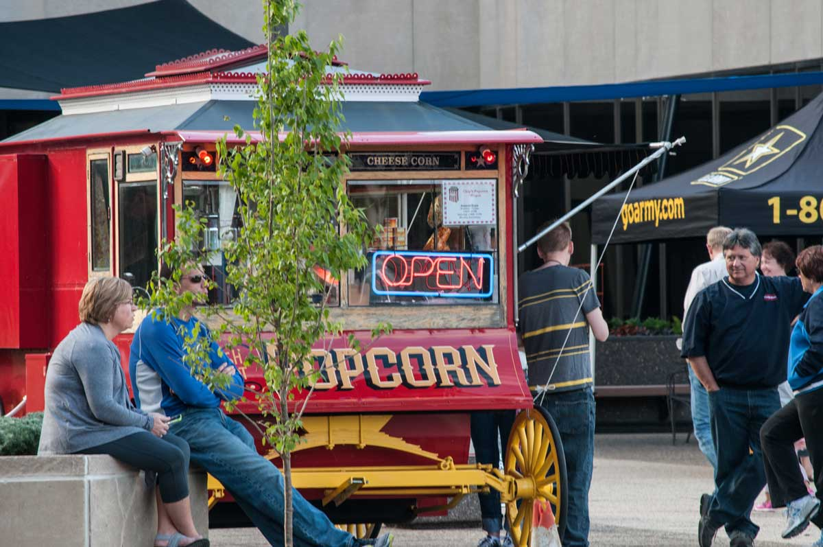 The iconic popcorn stand, located right outside of CitySquare Offices