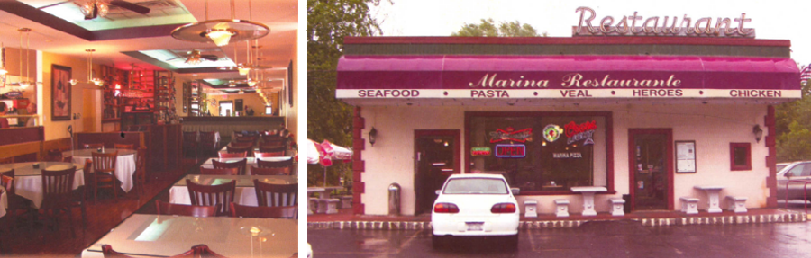 Interior and exterior of pizza restaurant in Harriman, NY