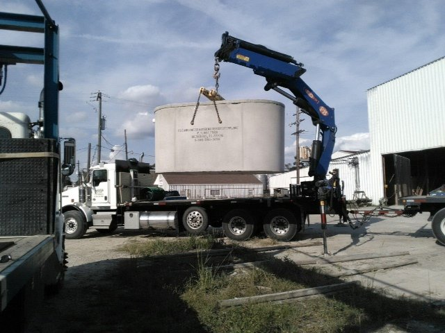 Installation of concrete septic tank in Kirbyville