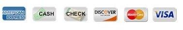 Discover MC Visa AMEX, cash, check