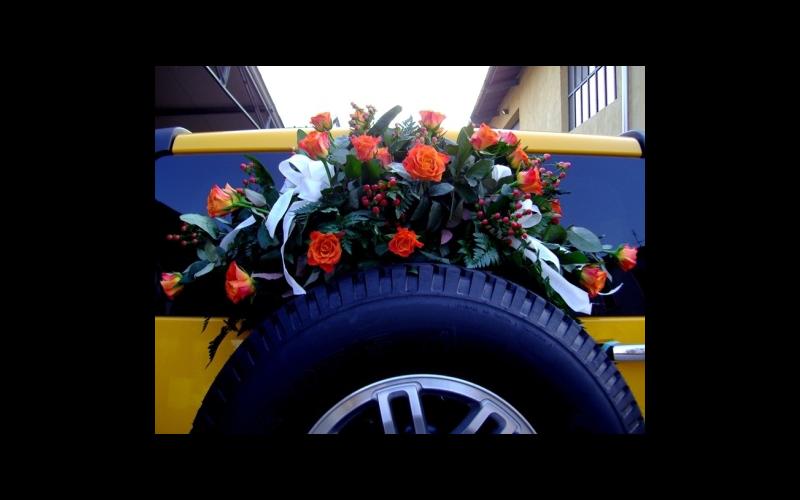 rose rosse per allestimento auto