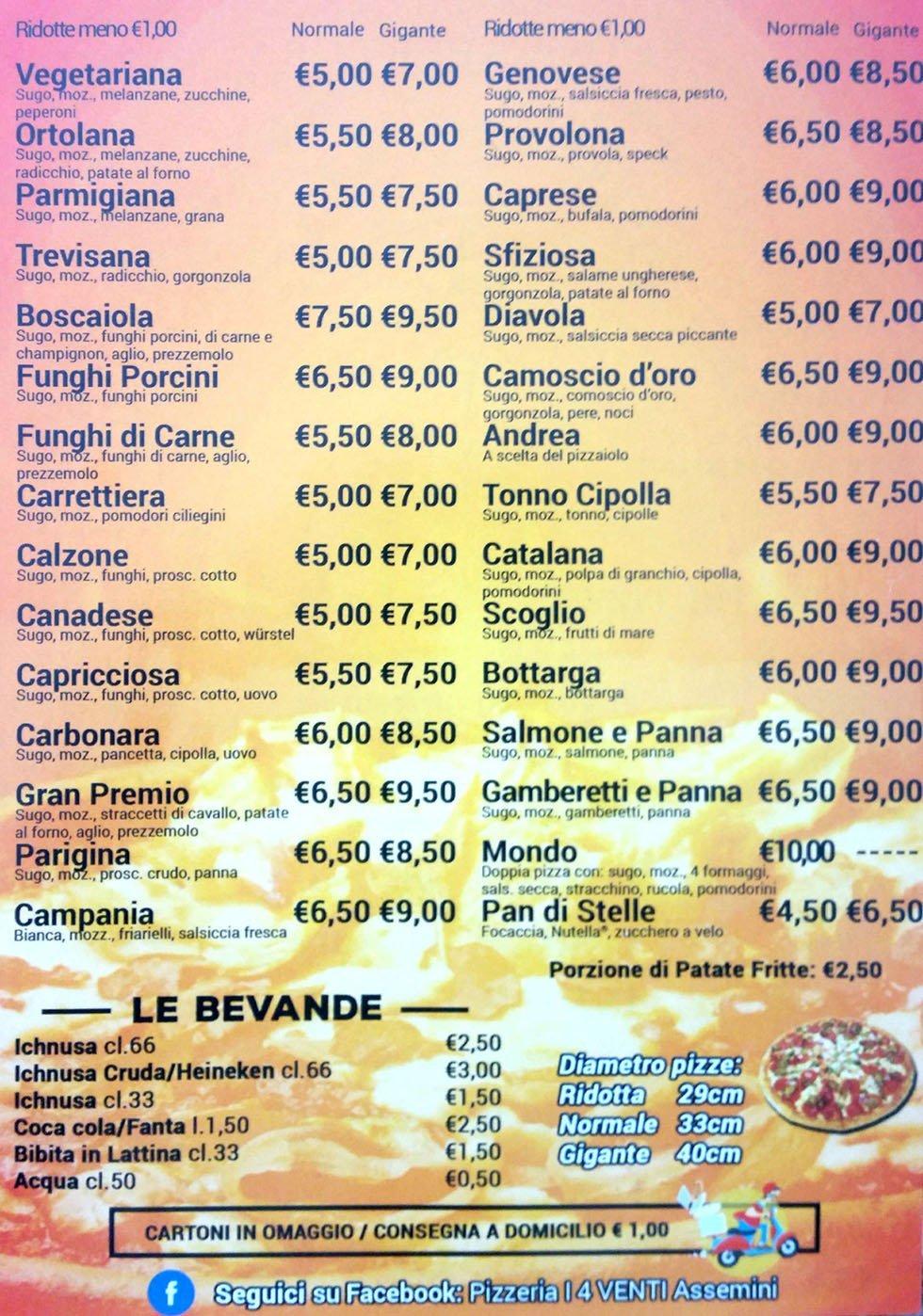 il volantino menu delle pizze