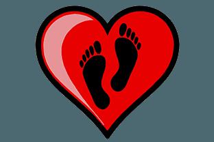 icona cuore con piedi