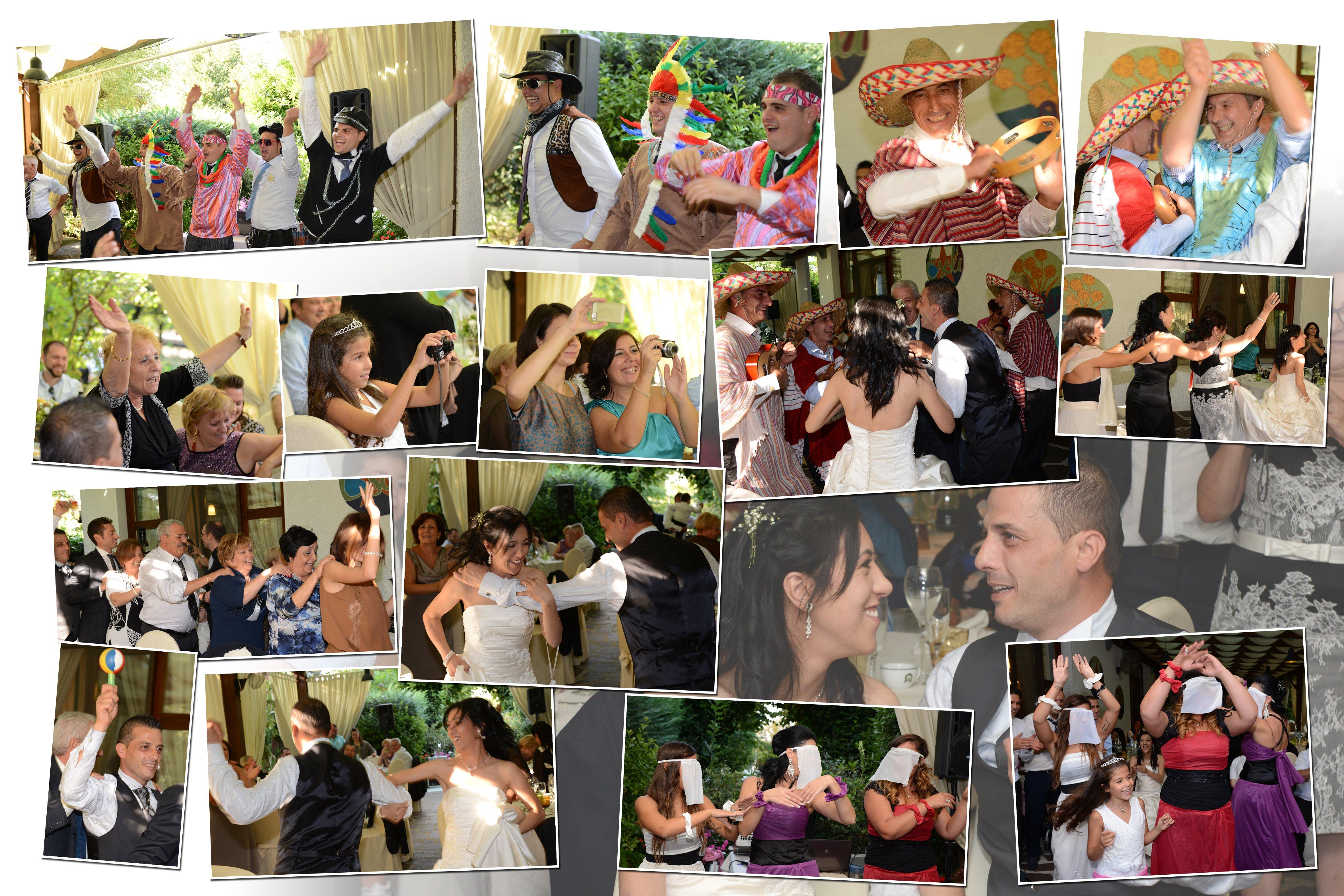 un collage di immagine delle persone che ballano in un matrimonio