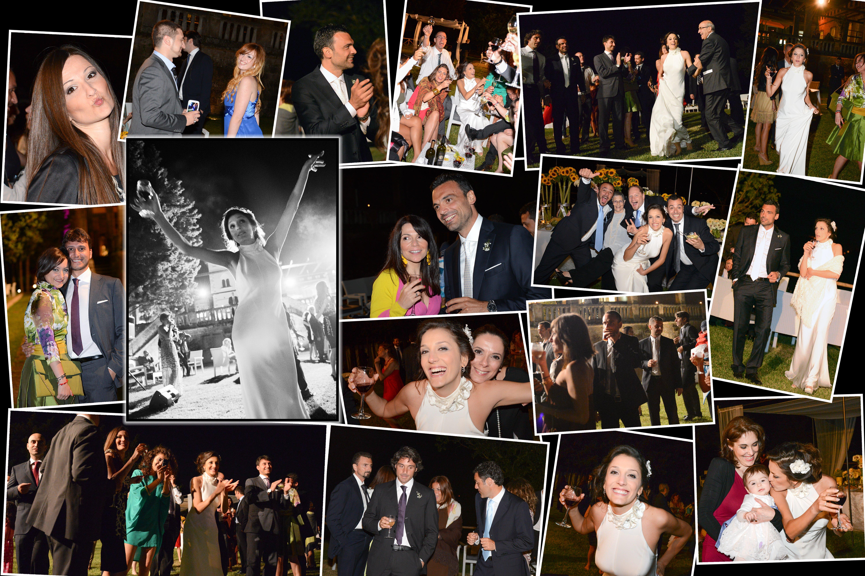 un collage di foto di persone a un matrimonio