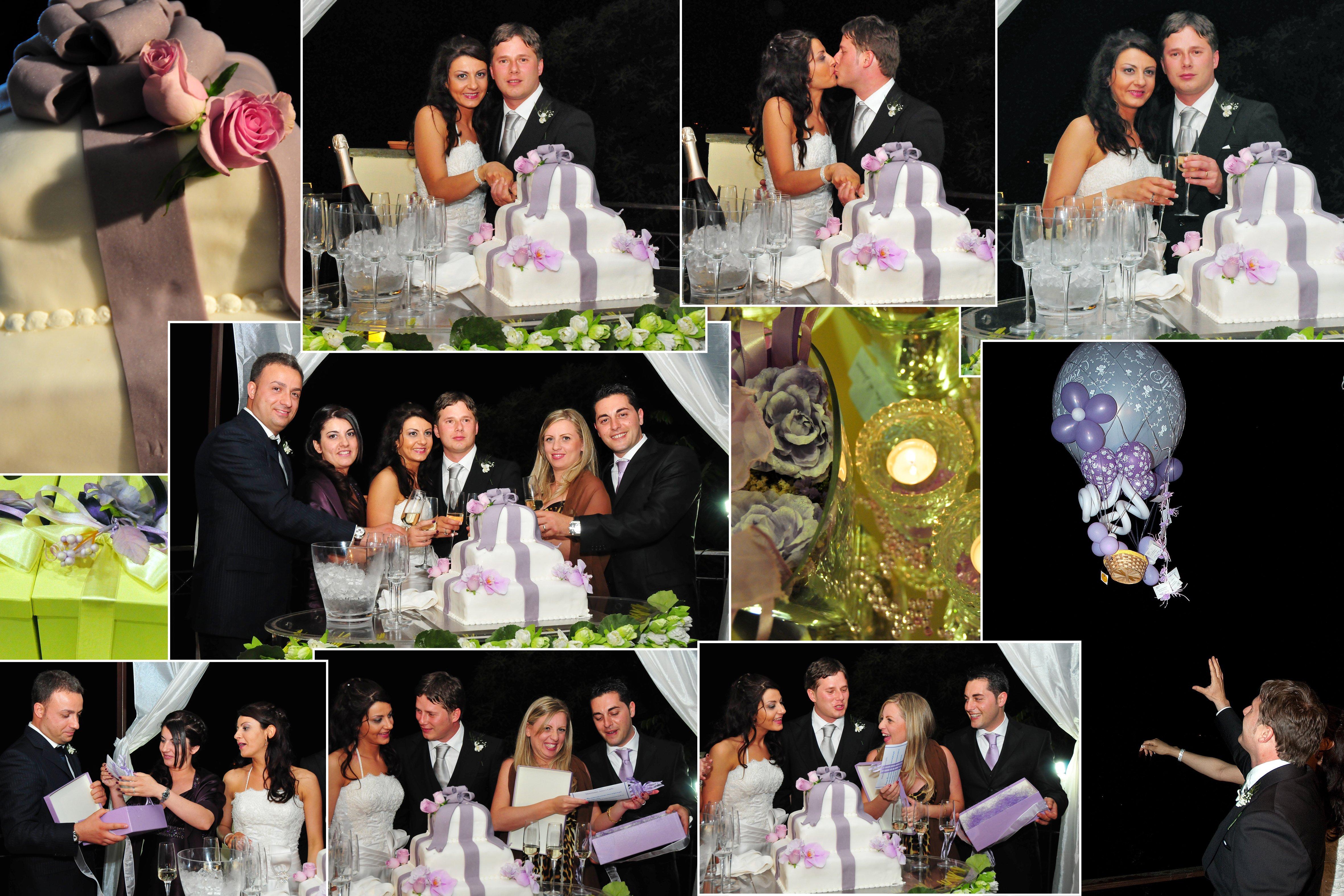 un collage di immagini di spose che tagliano una torta