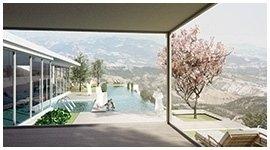 vista di una piscina,una casa sulla sinistra e un albero rosa