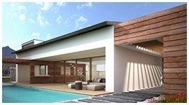 una piscina e uno stabile moderno accanto