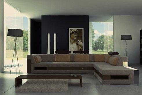 un salotto moderno con un divano angolare beige e un tavolino di fronte