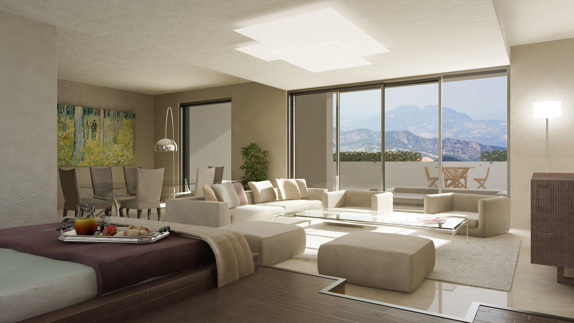 Luminoso salone moderno con vetrata