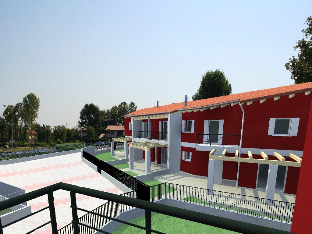 Progettazione di palazzo con facciata rossa